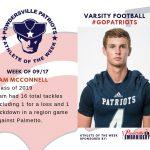 Varsity Football Names Athlete of the Week for Week of September 17th