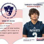 Varsity Football Names Athlete of the Week for Week of September 3rd