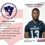 Varsity Football Names Athlete of the Week for Week of October 8th