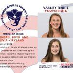 Girls Varsity Tennis Names Athletes of the Week!