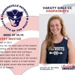 Girls Varsity Cross Country Names Athlete of the Week for Week of October 15th