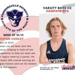 Boys Varsity Cross Country Names Athlete of the Week for Week of October 15th