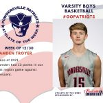 Varsity Boys Basketball Names Athlete of the Week for Week of December 30th!