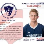 Varsity Boys Soccer Names Athlete of the Week for Week of February 25th!
