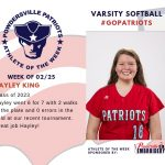 Varsity Softball Names Athlete of the Week for Week of February 25th!