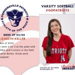 Varsity Softball Names Athlete of the Week for Week of March 4th!