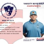 Boys Varsity Golf Names Athlete of the Week for Week of March 11th!