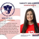 Girls Varsity Soccer Names Athlete of the Week for Week of March 11th!