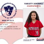 Varsity Softball Names Athlete of the Week for Week of March 11th!