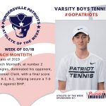 Boys Varsity Tennis Names Athlete of the Week for Week of March 18th!