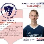 Boys Varsity Soccer Names Athlete of the Week for Week of March 18th!