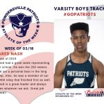 Boys Varsity Track Names Athlete of the Week for Week of March 18th!