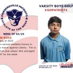 Boys Varsity Golf Names Athlete of the Week for Week of March 25th!