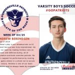 Boys Varsity Soccer Names Athlete of the Week for Week of March 25th!