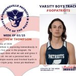 Boys Varsity Track Names Athlete of the Week for Week of March 25th!