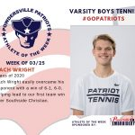 Boys Varsity Tennis Names Athlete of the Week for Week of March 25th!