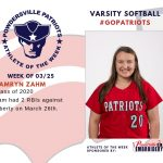 Girls Varsity Softball Names Athlete of the Week for Week of March 25th!