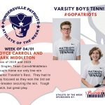 Boys Varsity Tennis Names Athletes of the Week for Week of April 1st!
