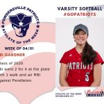 Varsity Softball Names Athlete of the Week for Week of April 1st!