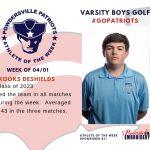 Varsity Boys Golf Names Athlete of the Week for Week of April 1st!