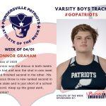 Varsity Boys Track Names Athlete of the Week for Week of April 1st!