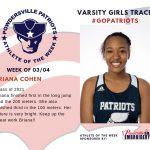 Varsity Girls Track Names Athlete of the Week for Week of March 4th!