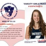Varsity Girls Track Names Athlete of the Week for Week of March 25th!
