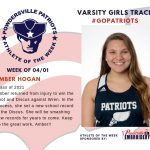 Varsity Girls Track Names Athlete of the Week for Week of April 1st!
