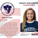 Varsity Girls Soccer Names Athlete of the Week for Week of April 1st!
