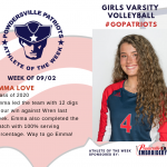 Girls Varsity Volleyball Names Athlete of the Week!
