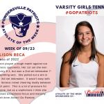 Varsity Girls Tennis Names Athlete of the Week!
