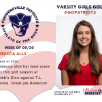 Varsity Girls Golf Names Athlete of the Week!