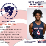 Boys Varsity Basketball Names Athlete of the Week!
