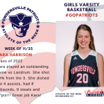 Girls Varsity Basketball Names Athlete of the Week!