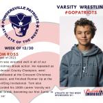 Varsity Wrestling Names Athlete of the Week!