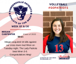 Patriot Volleyball announces Athlete of the Week August 30