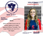 Patriots Volleyball announces Athlete of the Week September 7th