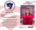 Patriots Golf announces Athlete of the Week September 14