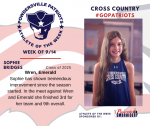Patriots Cross Country announces Athlete of the Week September 14th