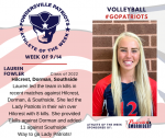 Patriots Volleyball announce Athlete of the Week for September 14th