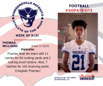 Patriots Football announces Athlete of the Week September 21st