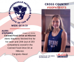 Patriots Ladies Cross Country announces Athlete of the Week September 21st