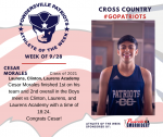 Patriots Mens Cross Country announces Athlete of the Week September 28th