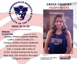 Patriots Ladies Cross Country announces Athlete of the Week September 28th