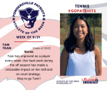Patriots Tennis announces Athlete of the Week September 21st