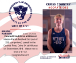 Patriots Mens Cross Country announces Athlete of the Week September 21st