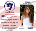 Patriots Tennis announces Athlete of the Week September 28th
