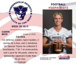Patriots Football announces Athlete of the Week October 5th