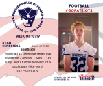 Patriots Football announces Athlete of the Week October 19th