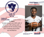 Patriot Football announces Athlete of the Week October 26th